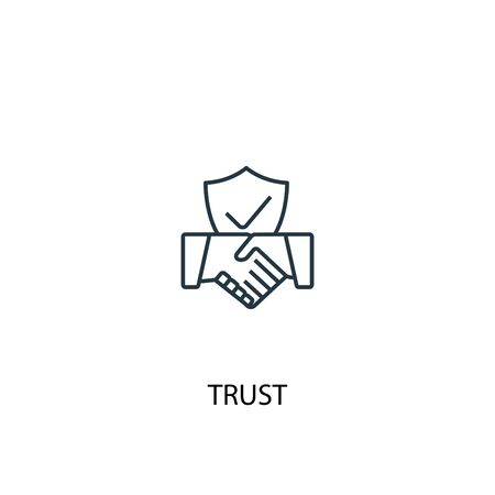 trust concept line icon. Simple element illustration. trust concept outline symbol design. Can be used for web and mobile Ilustracja