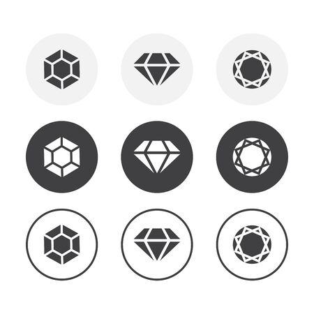 Satz von 3 Diamantikonen des einfachen Designs. Abgerundeter Hintergrund