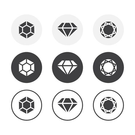 Set of 3 simple design diamond icons. Rounded background