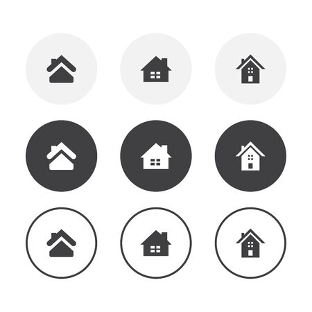 Set of 3 simple design home icons. Rounded background