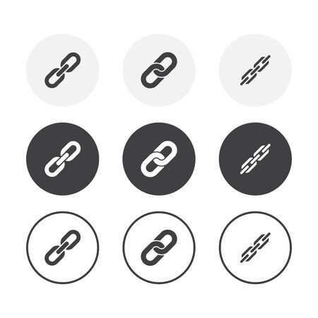 Set of 3 simple design Chain icons. Rounded background