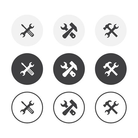 Set of 3 simple design repair icons. Rounded background
