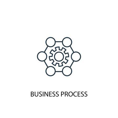 Icono de línea de concepto de proceso de negocio. Ilustración de elemento simple. Diseño de símbolo de esquema de concepto de proceso de negocio. Se puede utilizar para web y móvil.