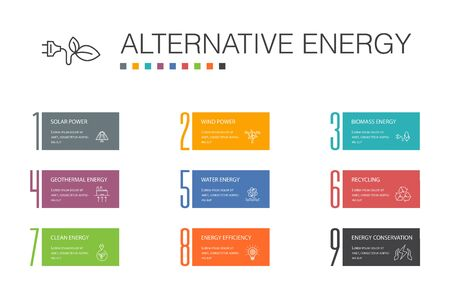 Alternative energy Infographic 10 option line concept.Solar Power, Wind Power, Geothermal Energy, Recycling icons