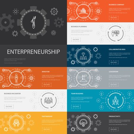 Entrepreneurship Infographic 10 line icons banners.Investor, Partnership, Leadership, Team building simple icons1