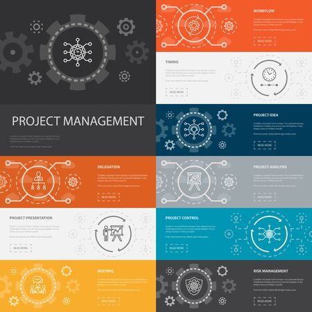 Project management Infographic 10 line icons banners.Project presentation, Meeting, workflow, Risk management icons Illustration
