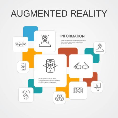 Augmented reality Infographic 10 line icons template.Facial Recognition, AR app, AR game, Virtual Reality icons