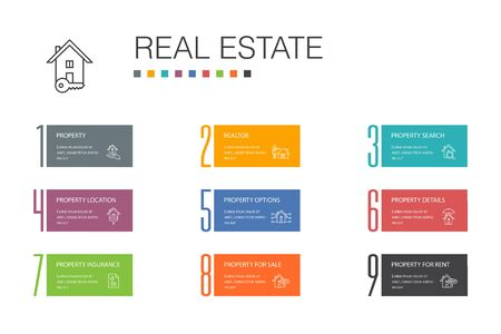 Real Estate Infographic 10 option line concept.Property, Realtor, location, Property for sale icons