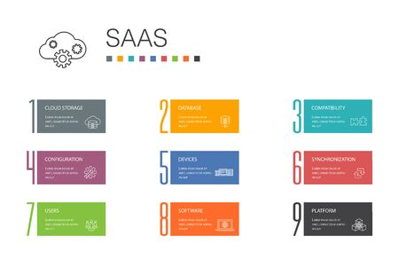 SaaS Infographic 10 option line concept.cloud storage, configuration, software, database icons
