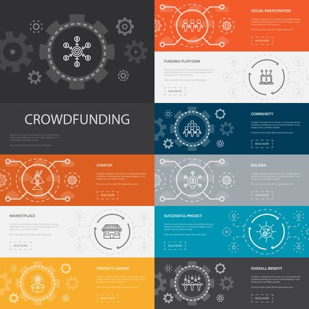 Crowdfunding Infographic 10 line icons banners.startup, product launch, funding platform, community icons