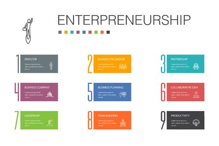 Entrepreneurship Infographic 10 option line concept.Investor, Partnership, Leadership, Team building icons Ilustracja