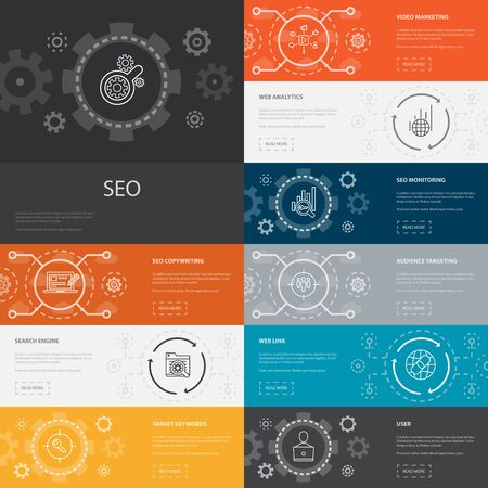 SEO Infographic 10 line icons banners.Search engine, Target keywords, Web analytics, SEO monitoring icons