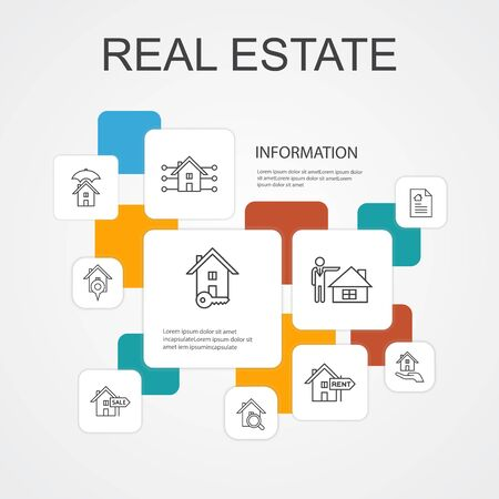 Real Estate Infographic 10 line icons template.Property, Realtor, location, Property for sale icons 向量圖像