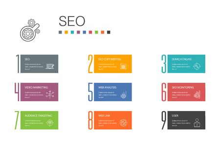 SEO Infographic 10 option line concept. Search engine, Target keywords, Web analytics, SEO monitoring icons 向量圖像