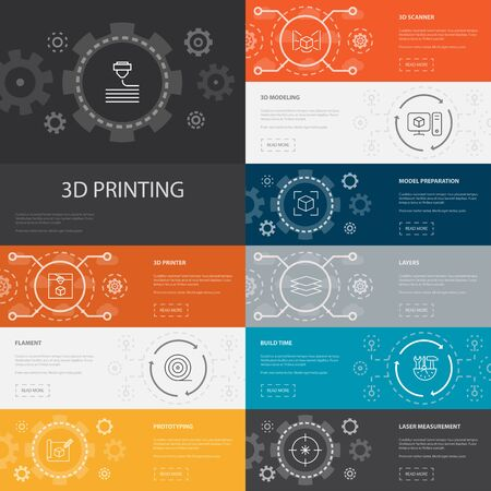3d printing Infographic 10 line icons banners.3d printer, filament, prototyping, model preparation icons