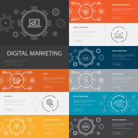 Digital marketing Infographic 10 line icons banners.internet, Marketing research, Social campaign, Pay per click icons
