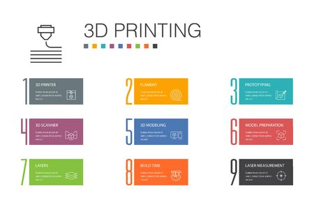 3d printing Infographic 10 option line concept.3d printer, filament, prototyping, model preparation icons Иллюстрация