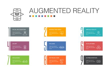 Augmented reality Infographic 10 option line concept.Facial Recognition, AR app, AR game, Virtual Reality icons