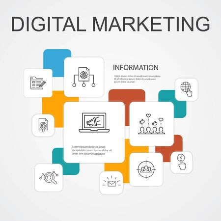 Digital marketing Infographic 10 line icons template.internet, Marketing research, Social campaign, Pay per click icons