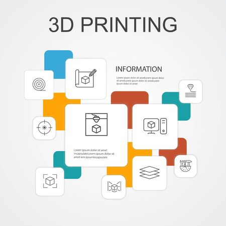 3d printing Infographic 10 line icons template..3d printer, filament, prototyping, model preparation icons
