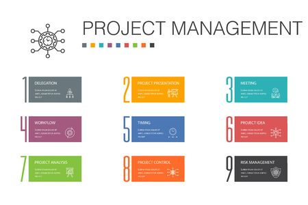 Project management Infographic 10 option line concept.Project presentation, Meeting, workflow, Risk management icons
