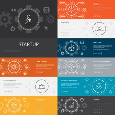 Startup Infographic 10 line icons banners.Crowdfunding, Business Launch, Motivation, Product development icons Foto de archivo - 130223281