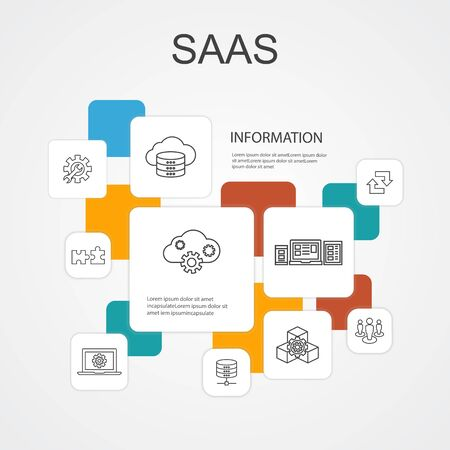 SaaS Infographic 10 line icons template.cloud storage, configuration, software, database icons Illustration