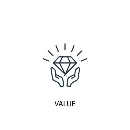 value concept line icon. Simple element illustration. value concept outline symbol design. Can be used for web and mobile 向量圖像