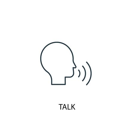 talk concept line icon. Simple element illustration. talk concept outline symbol design. Can be used for web and mobile Ilustração