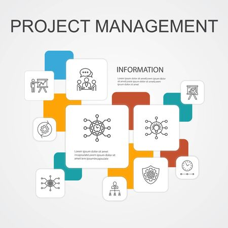 Project management Infographic 10 line icons template.Project presentation, Meeting, workflow, Risk management icons Illustration