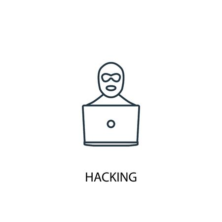 hacking concept line icon. Simple element illustration. hacking concept outline symbol design. Can be used for web and mobile