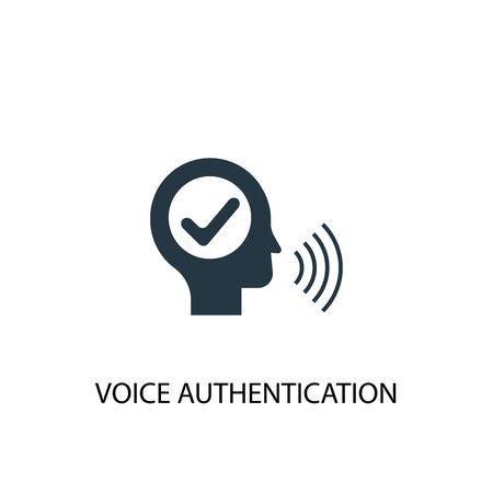 voice authentication icon. Simple element illustration. voice authentication concept symbol design. Can be used for web Çizim