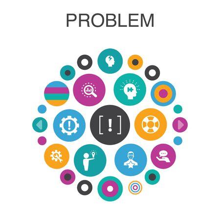problem Infographic circle concept. Smart UI elements solution, depression, analyze