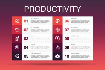 Productivity Infographic 10 option template.performance, goal, system, process icons