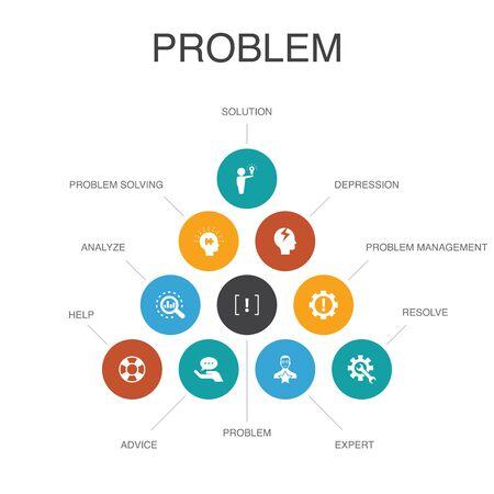problem Infographic 10 steps concept.solution, depression, analyze, resolve icons