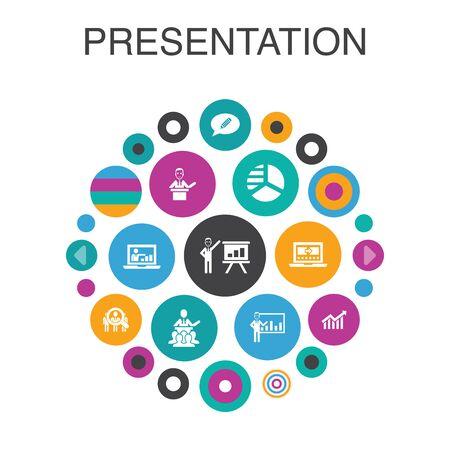 presentation Infographic circle concept. Smart UI elements lecturer, topic, business presentation