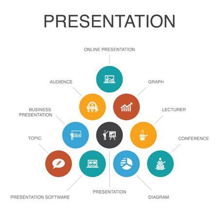 presentation Infographic 10 steps concept.lecturer, topic, business presentation, diagram icons Illustration