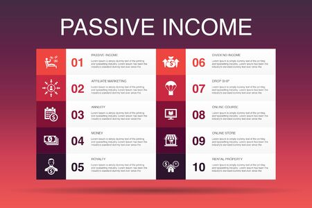passive income Infographic 10 option template.affiliate marketing, dividend income, online store, rental property icons