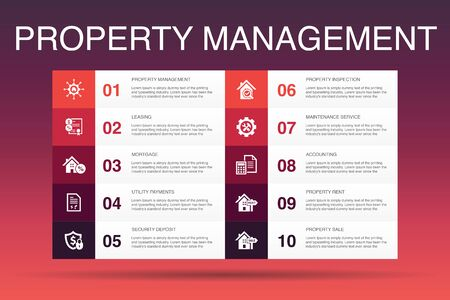 property management Infographic 10 option template.leasing, mortgage, security deposit, accounting icons  イラスト・ベクター素材