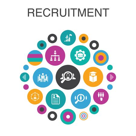 recruitment Infographic circle concept. Smart UI elements career, employment, position