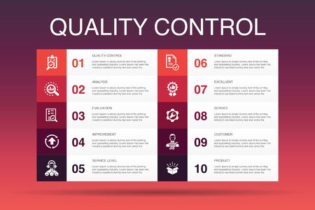 quality control Infographic 10 option template.analysis, improvement, service level, excellent icons 向量圖像