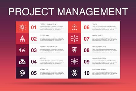 Project management Infographic 10 option template.Project presentation, Meeting, workflow, Risk management icons