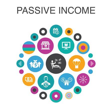 passive income Infographic circle concept. Smart UI elements affiliate marketing, dividend income, online store