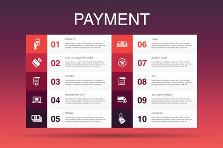 payment Infographic 10 option template.Invoice, money, bill, discount icons