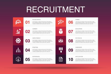 recruitment Infographic 10 option template.career, employment, position, experience icons