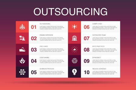 outsourcing Infographic 10 option template.online interview, freelance, business process, outsource team icons Ilustração
