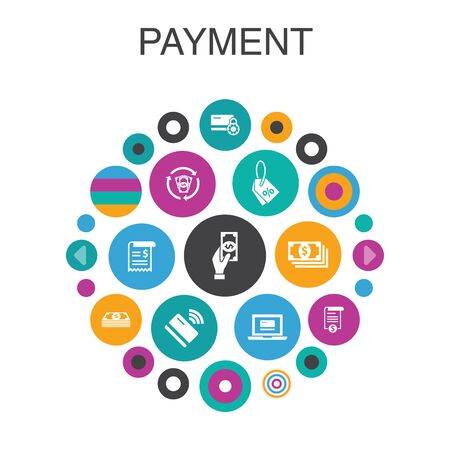 payment Infographic circle concept. Smart UI elements Invoice, money, bill