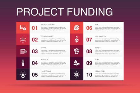 project funding Infographic 10 option template.crowdfunding, grant, fundraising, contribution simple icons
