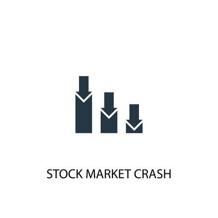 Börsencrash-Symbol. Einfache Elementabbildung. Börsencrash Konzept Symbol Design. Kann für Web verwendet werden