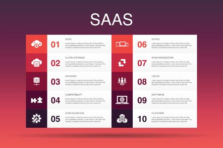 SaaS Infographic 10 option template.cloud storage, configuration, software, database icons Illustration